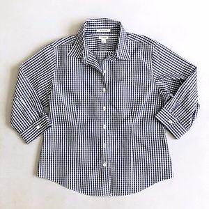 LL Bean Womens Wrinkle Free Navy Gingham Shirt S